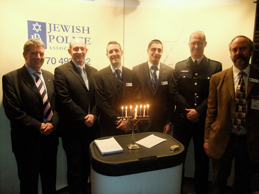 Tim Williams (JPA Treasurer), Mathew Shaer (JPA Chair), Michael Loebenberg (JPA Deputy Chair), Nochum Dewhurst (JPA Youth Officer), Commander Stephen Rodhouse, Rabbi Dr Jonathan Romain (JPA Chaplain)