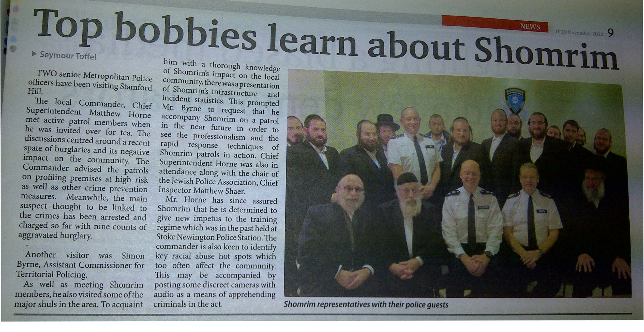 Top Bobbies Learn About Shomrim